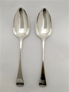 Antique Sterling Silver Pair George III Old English Pattern Tablespoons 1813
