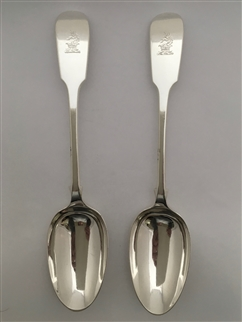 Antique Sterling Silver Pair George V Fiddle Pattern Tablespoons 1925
