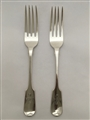 Antique Sterling Silver George IV pair Fiddle pattern Table Forks 1821