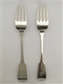 Antique Sterling Silver Pair Irish George IV Fiddle Pattern Table Forks 1829