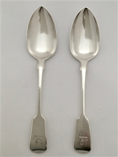 Antique Sterling Silver Pair Victorian Fiddle Pattern Teaspoons 1848