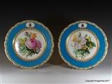 Pair Paris Armorial Porcelain Plates WELD of LULWORTH CASTLE DORSET Coat Arms Crest