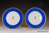 Pair PARIS Armorial PORCELAIN Plates LEEK CREST COAT ARMS