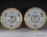 Pair English Armorial Plates PHOENIX