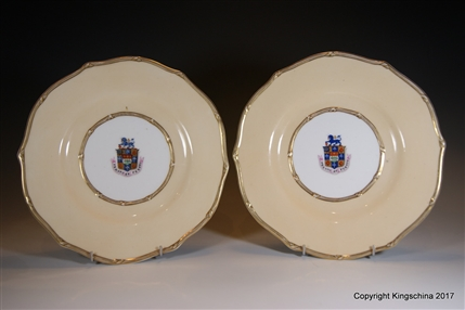 Pair Armorial Porcelain Plates WINCHESTER Master of Cutlers LORD MAYOR London