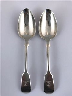 Pair Antique Sterling Silver Hallmarked Victorian Fiddle Pattern Dessert Spoons 1838