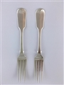 Pair Antique Sterling Silver Hallmarked William IV Fiddle Pattern Table Forks 1833