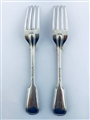 Pair Antique Sterling Silver Hallmarked Victorian Fiddle and Thread Pattern Table Forks 1856