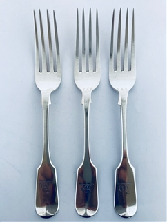 A set of three Victorian Exeter Sterling Silver Hallmarked Fiddle Pattern Dessert Forks 1851