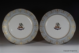 Pair Armorial Porcelain Plates Coat Arms Crest Clan