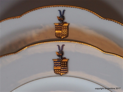 Pair Armorial Porcelain Plates HUYN Coat Arms Crest