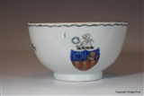 Chinese Armorial Tea Bowl GARLAND Family Crest Coat Arms