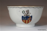 English Armorial Porcelain Tea Bowl  GARLAND Family Crest Coat Arms