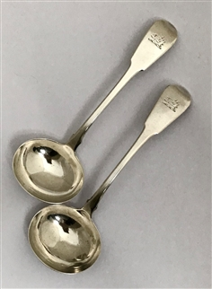 Pair Antique Sterling Silver Hallmarked George III Fiddle Pattern Sauce Ladles 1818