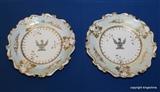 Pair Ridgway? LE BLANC Armorial Crest Plates 1830