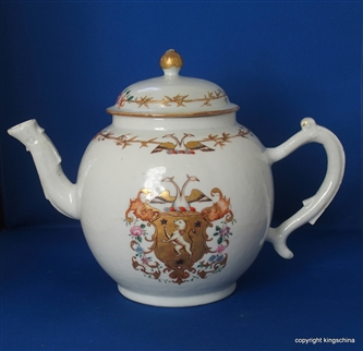 Rare Giant Chinese Armorial Porcelain Crest Teapot PUNCH POT 1760