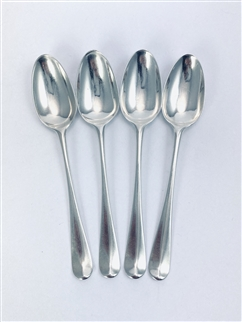 Antique George III Hallmarked Sterling Silver Set 4 Hanoverian Pattern Teaspoons c.1760