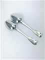 Antique George IV hallmarked Sterling Silver Pair Fiddle Pattern Tablespoons 1824