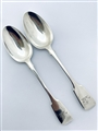 Pair Antique Victorian Hallmarked Sterling Silver Fiddle Pattern Tablespoons 1849