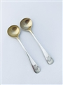 Antique Victorian Hallmarked Sterling Silver Pair Old English Pattern Salt Spoons 1882
