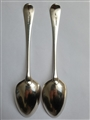 Pair of Antique George III Hallmarked Sterling Silver Old English Pattern Table Spoons,1805