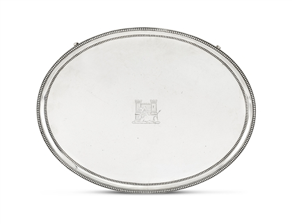 MILITARY INTEREST: A large George III silver salver