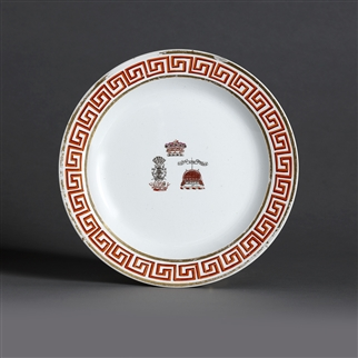 NELSON INTEREST: A George III armorial porcelain plate