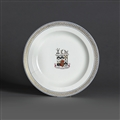 TRAFALGAR INTEREST: A Wedgwood creamware armorial plate