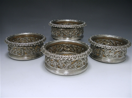 Set of Four George IV Antique Silver Wine Coasters made in 1827