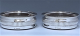 Pair of George III Antique Silver Wine Coasters made in 1806 for Spencer Perceval, Prime Minister of the United Kingdom