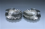 Pair of George III Antique Silver Butter Shells made in 1794