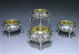 Set of Four Antique Silver Salts made for Viscount Melbourne's Father & Grandfather in 1750-69