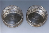 Pair of George III Antique Silver Wine Coasters made in 1768