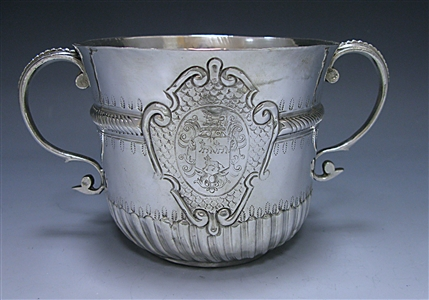 Antique Silver Queen Anne Britannia Porringer made in 1706