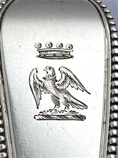 Antique Victorian Hallmarked Sterling Silver bead Edged Gravy Stuffing Spoon 1867