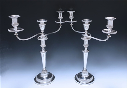 Pair of George III Antique Silver Rare Candelabra made in 1802