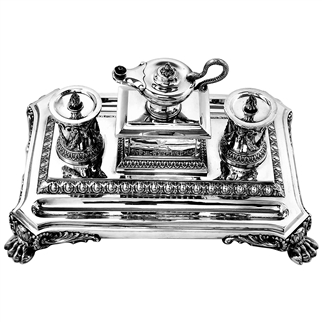 ANTIQUE VICTORIAN SILVER INKSTAND 1880 INKWELL DESK TIDY PEN TRAY