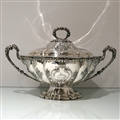 Early 20th Century Antique Edwardian Large Sterling Silver Soup Tureen & Cover Sheffield 1908 Richard Martin & Ebenezer Hall