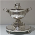 Early 19th Century Antique George III Sterling Silver Large Soup Tureen on Stand London 1801 Robert Sharp