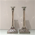 18th Century Antique George III Sterling Silver Pair Candlesticks London 1771 John Carter