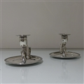 Early 19th Century Antique George III Sterling Silver Pair Chambersticks London 1806 John Emes