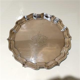 19th Century Antique Victorian Sterling Silver Salver London 1898 Hawksworth Eyre & Co Ltd