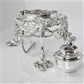 Antique Silver Rococo Style Kettle & Stand
