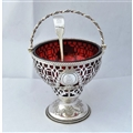Ruby Red Glass Sugar Basket & Spoon