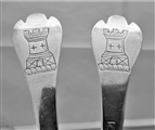 Nice quality pair crested William & Mary trefid spoons London 1691 by TS