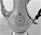 Superb large crested & armorial early George III silver coffee pot London 1764 James Betham