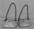 Good pair crested George III silver wine labels London 1809 Ede & Hewat