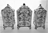 Wonderful set 3 crested & armorial George III silver caddies London 1766/6 Vere & Lutwyche