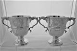 Fine pair early George III Irish silver 2 handled cups Dublin 1769/70 Matthew West