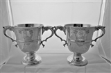 Fine pair early George III Irish silver 2 handled cups Dublin 1769/70 Matthew West